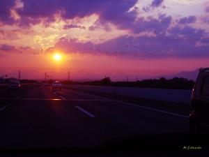 道と夕日0252a02